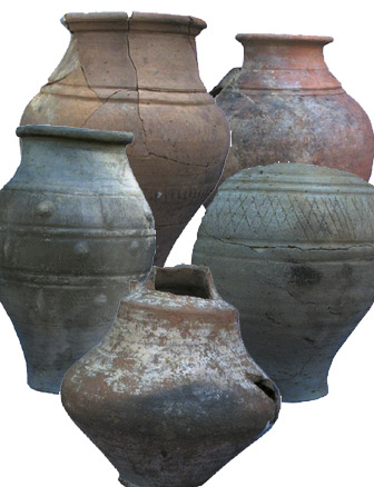 Photo of a number of whole pots after cleaning and restoration work