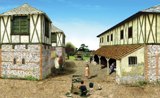 Reconstruction illustration of yards between buildings