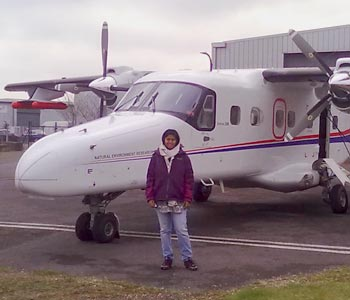 Suvarna Punalekar,  PhD student, with the NERC Airborne Research and Survey Facility (ARSF) aircraft