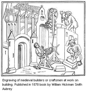 Engraving of medieval builders or craftsmen at work on building. Published in 1878 book by William Hickman Smith Aubrey