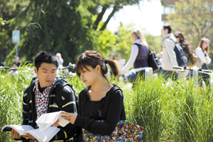 Two pre-sessional students on campus