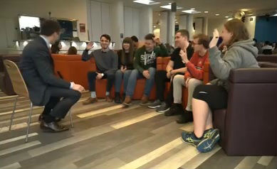 Students talk to ITV's political correspondent about the university funding review