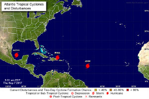 US National Weather Service forecast map shows Hurricanes Katia, Irma and Jose