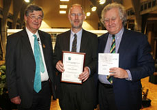 from left to right) President of the RHS; Giles Coode-Adams, Winner; Professor Paul Hadley, Chairman of the Marsh Christian Trust; Brian Marsh. credit photo Jon Enoch.