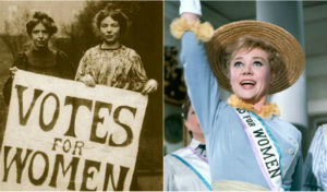 The violent protests by the Suffragettes (L) contrast with the softer image of Mrs Banks in Mary Poppins (R)