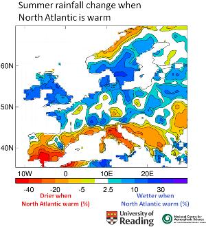 Map showing the pattern of changes in summer rainfall that occurred in the 1990s when the North Atlantic Ocean warmed rapidly (see notes to editors)