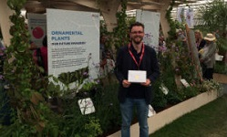 Colour photograph of Tomos Jones at Chesea Flower Show