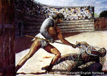 Artist's impression of gladitorial combat at Silchester's amphitheatre