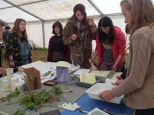 Art students on a residency at the Archeology Fieldschool in Wiltshire