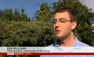 Reading PhD student Ben Williams on BBC South