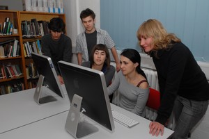 A group of students using computers