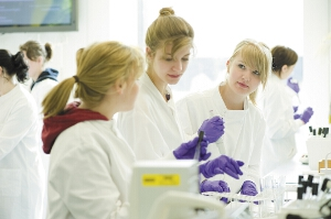 Students working in a lab on a peer assessed project