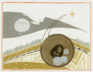 A linocut inspired by the Folkton drums burial by Rose Ferraby.