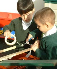 Primary school pupils working together