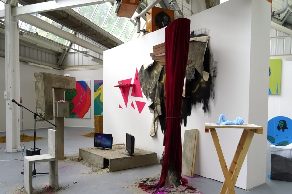 A range of students work displayed in one of the studios at Reading School of Art