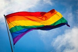 colour photograph of rainbow flag