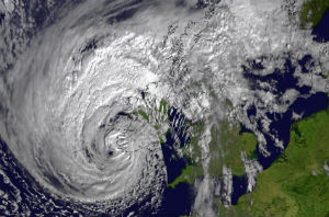 The former hurricane Ophelia approaching the UK