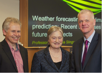 2014 speaker Professor Julia Slingo with Professor Simor Chandler Ward and Sir David Bell