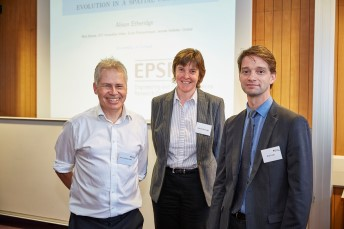 2015 Seminar speaker Professor Alison Etheridge with Professor Simon Chandler-Ward and Professor Ben Cosh