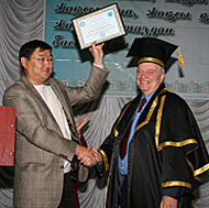 Dr Trevor Davies been awarded an Honorary Professorship by Semey State University in Kazakhstan.