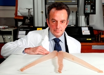 Dr Richard Bonser with prototype octopus arms