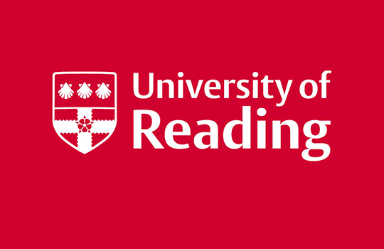 University of Reading logo white decoration and lettering to red background