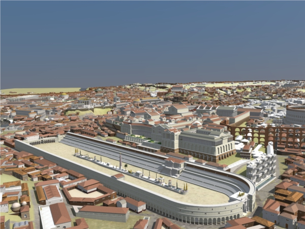 The Circus Maximus, Rome's arena for chariot racing, could hold up to a quarter of a million spectators. Here the reconstruction shows how the imperial palaces on the Palatine Hill loomed over it.