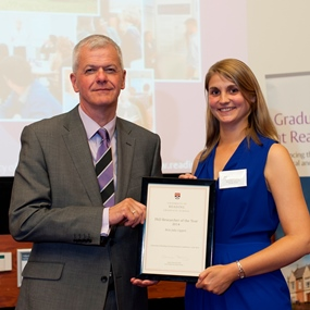 PhD Researcher of the Year, Birte Julia Gippert, with the Vice Chancellor, Sir David Bell