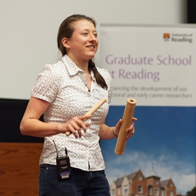 Charlotte Hill, winner of the inaugural Science SLAM competition