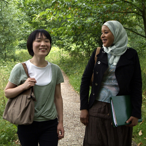 The Whiteknights campus offers a parkland environment where students can walk and enjoy the scenery