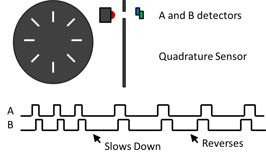 Diagram to illustrate the detectors and quadrature sensors on a robot used to measure its speed
