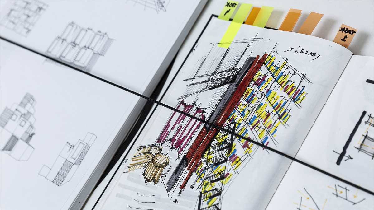 Colourful sketches of buildings on a piece of paper