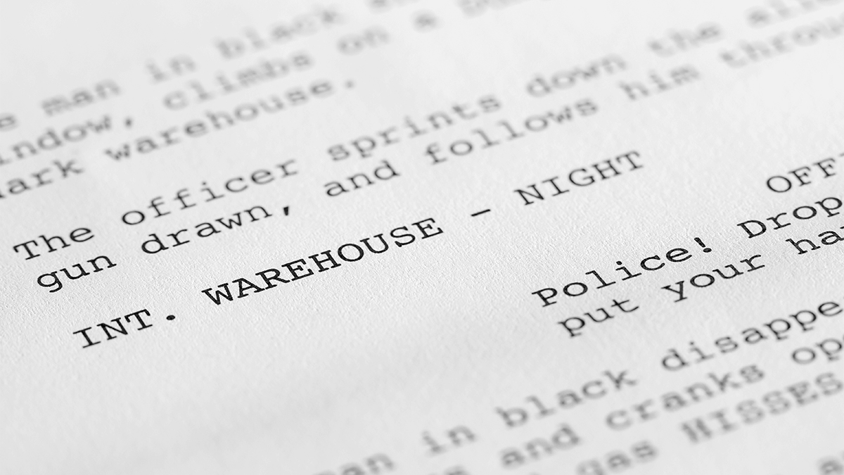 Close-up of a student film script.