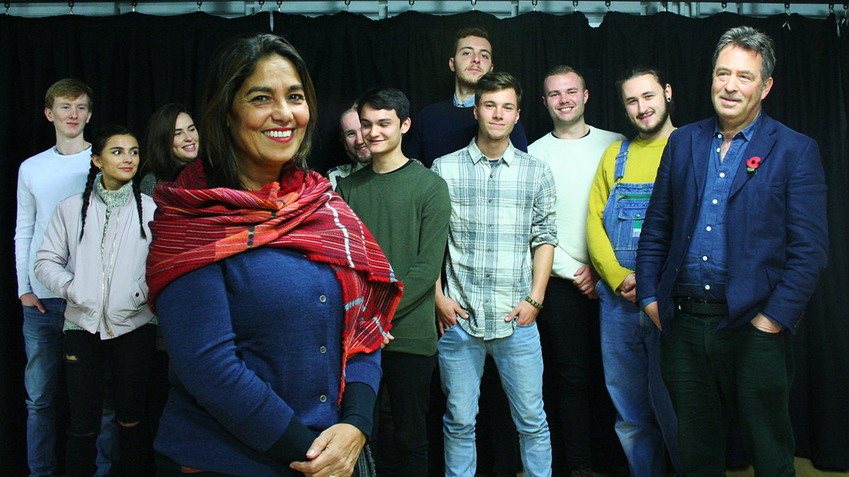 British filmmaker Ruhi Hamid in front of a group of students