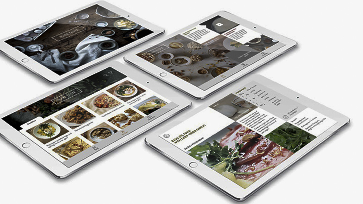 PURE TASTE recipe app designed by Emma Beckingsale as part of her BA Graphic Communication degree
