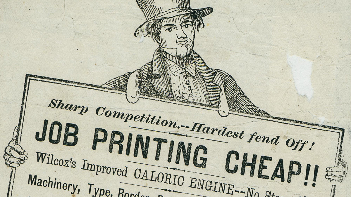 Example of historic advertisement poster from the Department's collection of ephemera