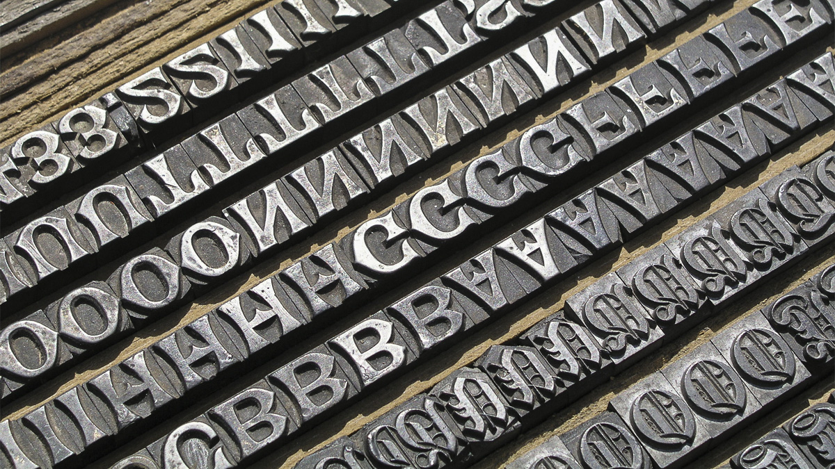 Lettering printing blocks in historic type designs, part of the Typography collections