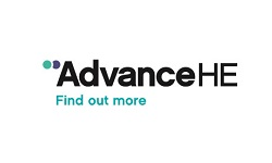Advance HE logo, black and turquoise lettering to white background