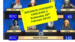 University challenge mock up with famous botanists in the team