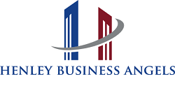 Henley business angels logo , red, blue and grey to white background