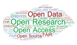 Word cloud of open research terms
