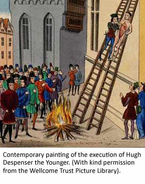 Contemporary painting of the execution of Hugh Despenser the Younger. (With kind permission from the Wellcome Trust Picture Library).