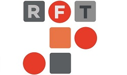 reading film theatre logo, grey and orange circles and lettering to white background