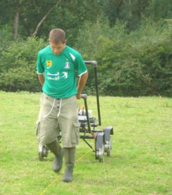Geophysical survey in action, in this case using a four-wheel resistivity meter (A Geoscan MSP40)