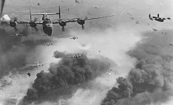 Black and white photograph of World War 2 bombers