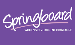 Springboard logo, white lettering to purple background