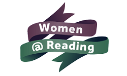 Women at Reading logo, purple and green ribbon to white background