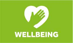 Wellebeing logo, white hand and heart image with white lettering to green background