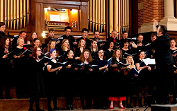 choir singing in great hall