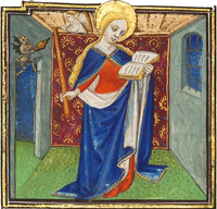 Detail of Saint Genevieve, patron saint of Paris, from the University of Reading Book of Hours